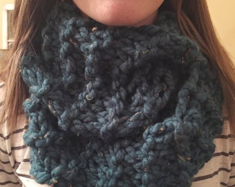 Infinity Scarf - Chunky Knit Tweed (Teal)