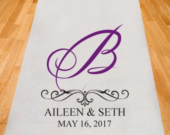 Initial Elegance Wedding Aisle Runner - Personalized Aisle Runner - Plain White Aisle Runner (ppd13)
