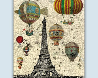 Paris Art Print, Paris Decor, Paris Poster, Hot Air Balloons Over Eiffel Tower, Paris Map, Eiffel Tower Poster, Hot Air Balloons Art