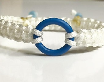 Ringette Bracelet, Blue Ring Ringette White Nylon Braided Charm Bracelet