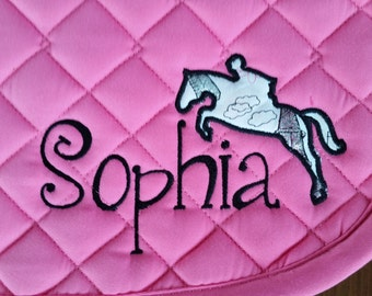 Saddle Pad Personalized with Name & Jumping Horse Applique