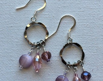 Beautiful dangle earrings in pink and purple