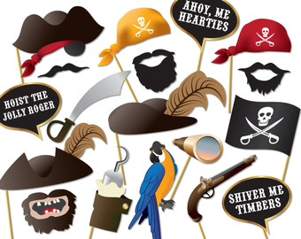 Pirate Party Photo booth Props, moustache, beard, pirate eye patch, pirate hat, hook, peter pan - 0176