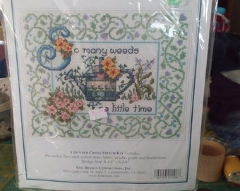 """Extra #124 Vintage Counted Cross Stitch Kit """" So Many Weeds"""" with FREE SHIPPING"""