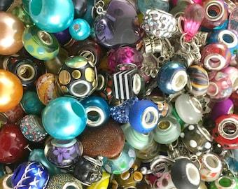 Mixed 15 pc Bead Grab Bag, Charm Grab Bag, European Beads, European Charm Beads, Metal Charms, Large Hole Beads, Jewelry Making