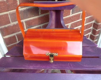 Vintage marblized orange lucite Florida  handbag made in Miami