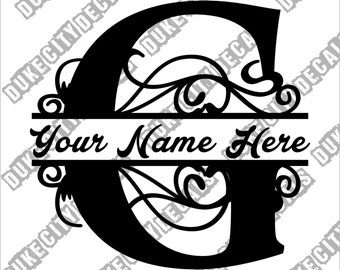 Letter G Floral Initial Monogram Family Name Vinyl Decal Sticker - Personalized Floral Name Decal