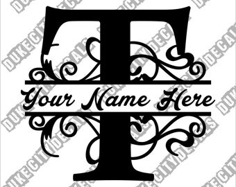 Letter T Floral Initial Monogram Family Name Vinyl Decal Sticker - Personalized Floral Name Decal