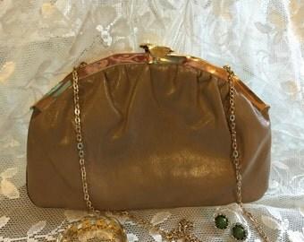 Vintage Beige Leather Purse with Long Golden Chain, 1960s Beige Leather Shoulder Bag