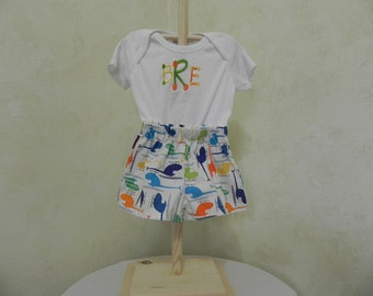 Children's Clothing- Boys Short Set w- Monogram-Bright Helicopters-Infant Clothing- Kids Clothing
