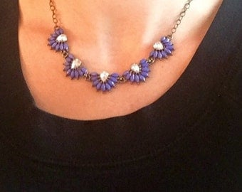 Blue statement necklace, blue and crystal pedal necklace, Blue bead necklace
