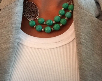 Turquoise statement necklace, turquoise bead necklace, turquoise and silver bead necklace