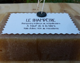 "The ""Shampêtre"", SOAP, shampoo dandruff shine to the egg and beer and essential oils of lavender, peppermint and Rosemary"