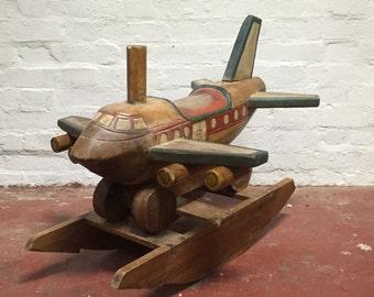 Antique Hardwood Airplane Design Decorative Rocking Horse, 30-Inch