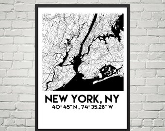 New York Map Poster 18 x 24 (Digital)