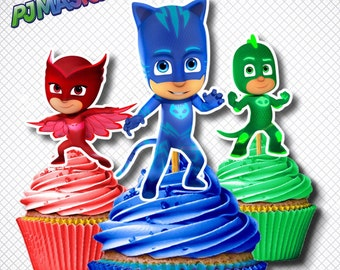 PJ Mask Cupcake Toppers /Digital PJ Mask Cupcake Toppers / Printable Party Favors