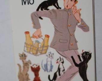 Vintage Old Maid  Card - Milkman Mo - Cat Ephemera
