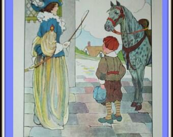 Vintage Book Print - Mother Goose 1977 - Dapple Grey - Horse Print
