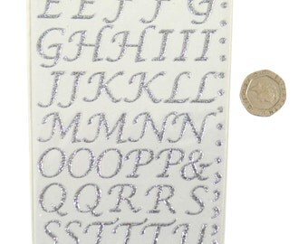 Silver Stylised Glitter Sparkly Stick On Letters Pack of 55 Letters