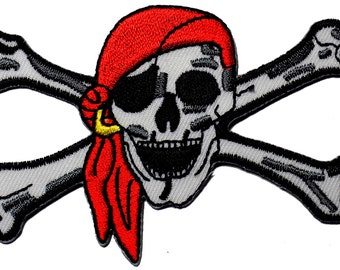 Pirate Skull and Crossbones Embroidered Iron On Applique