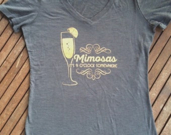 Mimosa - V-neck - Brunch - Funny - Grey - Champagne - Ladies