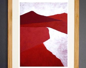 Dunes - Fine Art  Giclée Print - Red Abstract Landscape Painting - Wall Art