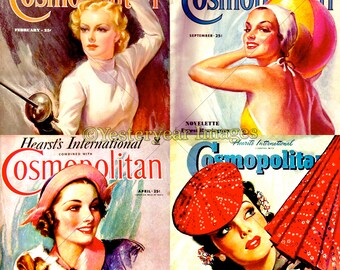 Vintage COSMOPOLITAN MAGAZINE Covers - Printable Digital Images - Collage Sheets - Instant Download - 3 PNG Files 4x4. 2x2. 1x1