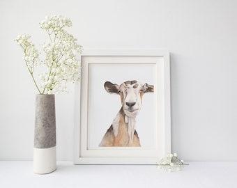 Goat print of watercolour painting G172DL, goat printable, downloadable goat print, goat watercolor painting print