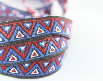 16 mm Blue/Red Chevron Jacquard ribbon (0.62 inches) -Decorative Craft Ribbon - Sewing - Jacquard trim - Trim