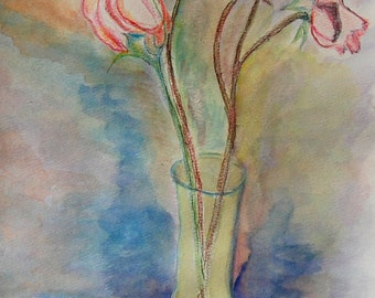 A Vase of Roses original watercolor painting by Miao Yeh, 12x10, floral, portion of proceed supports Parkinson's research.