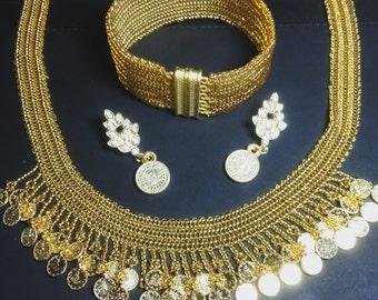 Golden Plate Beads Necklace and Bracelet set