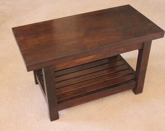 Hallway Bench, entryway bench, walnut bench, red cedar bench, maple bench, white oak bench, cherry bench, hardwood bench, small table