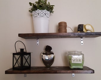 Set of 3 rustic, hand-stained wood shelves