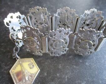 French Filigree Bracelet, French Souvenir Bracelet, Eiffel Tower, Notre Dame and Arc de Triomphe, Statement Jewellery, Vintage Jewellery
