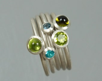 5 stack rings 925 Silver Peridot green apatite aquamarine tourmaline can be combined