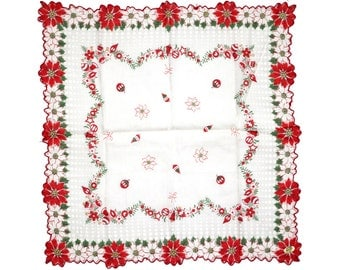 Vintage Handkerchief, Christmas Handkerchief, Unused With Paper Label Paper Tag, Red Green Poinsettia Christmas Ornaments Scalloped Edge