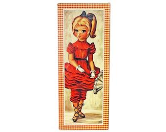 Vintage Maio Big Eye Girl Print, Girl With Ponytail and Parasol, Vintage Maio Print, Maio Art, Vintage Print, Mod 60s Wall Art