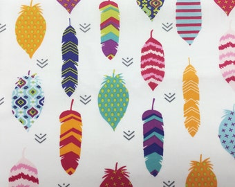 Neon Feather Fabric, Cotton Fabric Tribal, Quilting Fabric Feathers