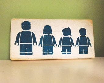 Lego family wooden sign plaque wall art gift present