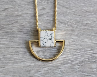 Geometric gem necklace marble