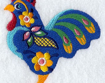 Mexican Gallo Rooster  Embroidered on a Flour Sack Towel Hand towel Dish Towel