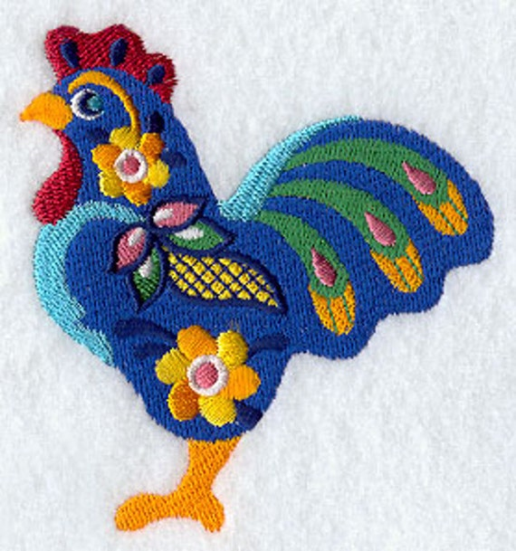Mexican Gallo Rooster Embroidered On A Flour Sack Towel Hand