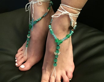 """Barefoot sandals """"The green Witch"""""""