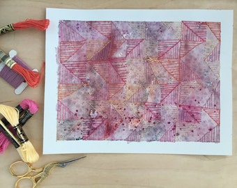 Dusty Pink Stitching - Original - hand embroidery - wall art - Watercolour - geometric art - desk art - 18 x 22cm