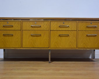 Oak and Chrome Office Credenza