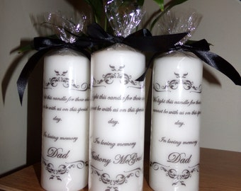 "Hand printed ""In loving memory"" personalised candle"