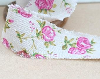 Antique Rose Printed Burlap Ribbon