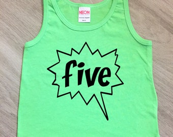 Fifth Birthday tank top - baby boy or girl 5th Birthday tank - toddler tank - summer tank top