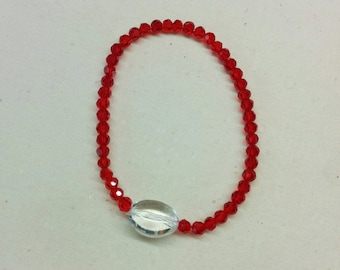 Gemstone Stretch Bracelet.  Ruby Red Crystal and Clear Quartz Crystal  Gemstone Bracelet, Women or Men Bracelet