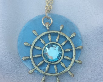 Light Blue Ship Wheel & Shell necklace